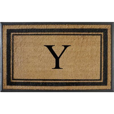 First Impression Markham Border Doubledoor Monogrammed Doormat Letter: Y
