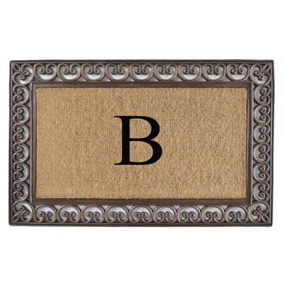 Classic Monogrammed Paisley Border Double Doormat Letter: B