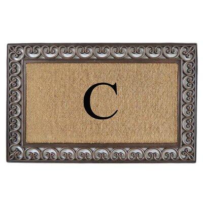 Classic Monogrammed Paisley Border Double Doormat Letter: C