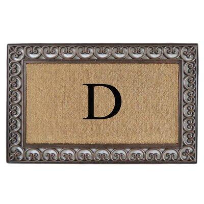 Classic Monogrammed Paisley Border Double Doormat Letter: D
