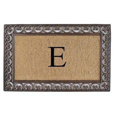 Classic Monogrammed Paisley Border Double Doormat Letter: E