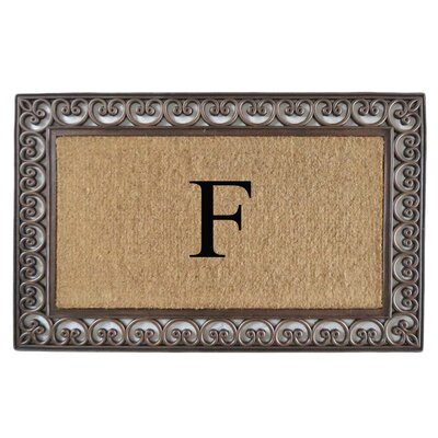 Classic Monogrammed Paisley Border Double Doormat Letter: F