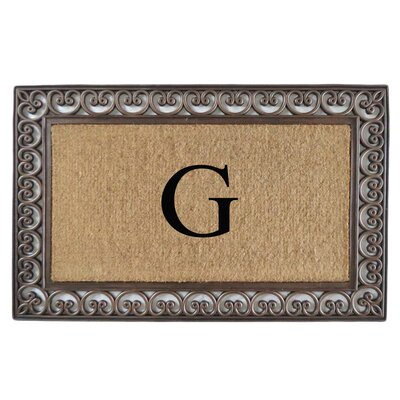 Classic Monogrammed Paisley Border Double Doormat Letter: G