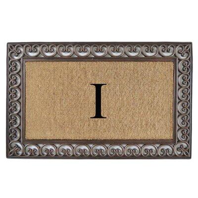 Classic Monogrammed Paisley Border Double Doormat Letter: I