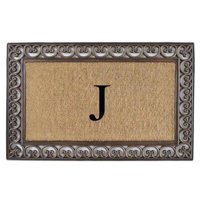 Classic Monogrammed Paisley Border Double Doormat Letter: J