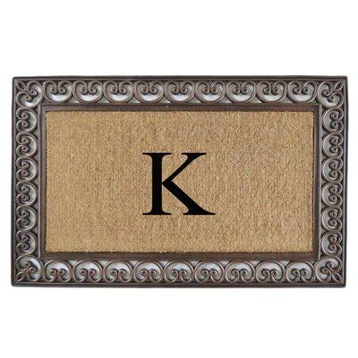 Classic Monogrammed Paisley Border Double Doormat Letter: K