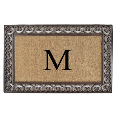 Classic Monogrammed Paisley Border Double Doormat Letter: M