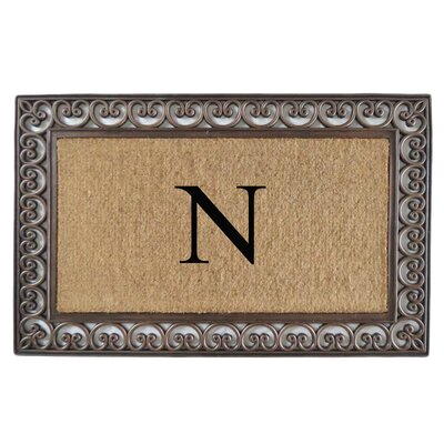 Classic Monogrammed Paisley Border Double Doormat Letter: N