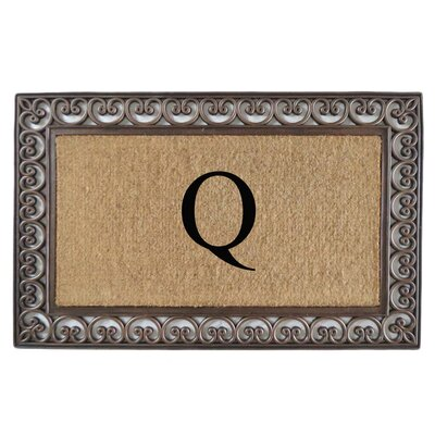 Classic Monogrammed Paisley Border Double Doormat Letter: Q