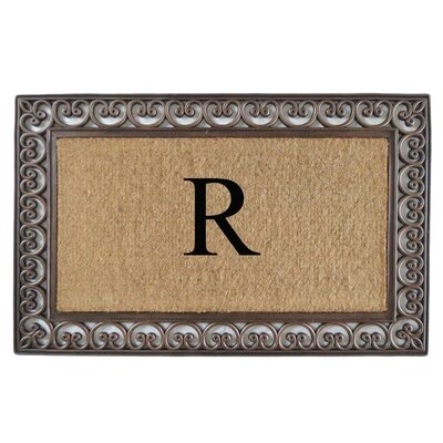 Classic Monogrammed Paisley Border Double Doormat Letter: R