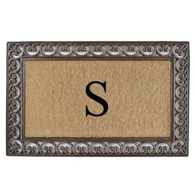 Classic Monogrammed Paisley Border Double Doormat Letter: S