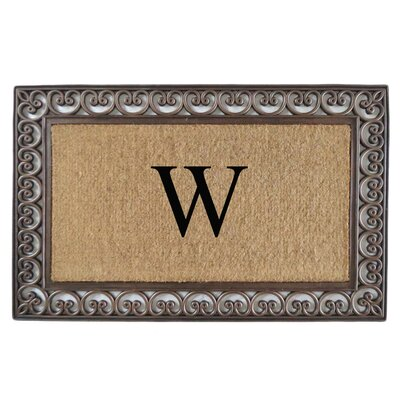 Classic Monogrammed Paisley Border Double Doormat Letter: W
