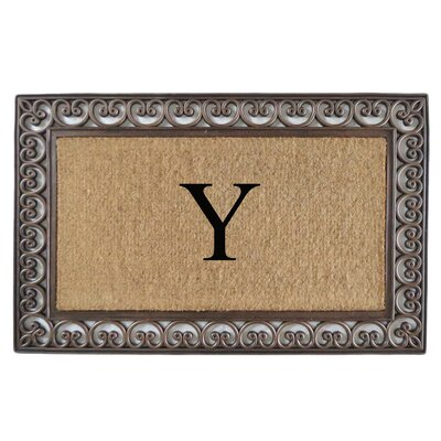 Classic Monogrammed Paisley Border Double Doormat Letter: Y