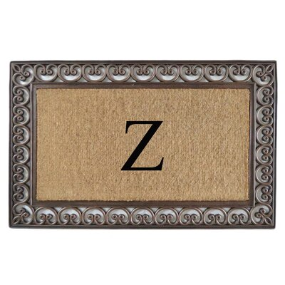 Classic Monogrammed Paisley Border Double Doormat Letter: Z