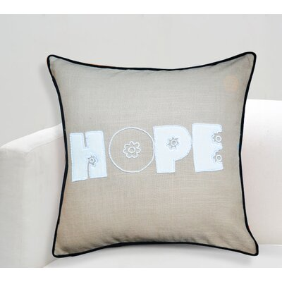 Handcrafted Sentiment in Hope Cotton Throw Pillow