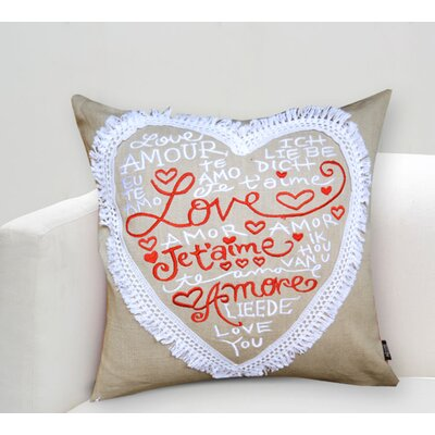 Handcrafted Sentiment in Love Jetaime Cotton Throw Pillow
