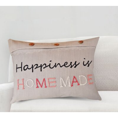 Handcrafted Sentiment in Happiness Is Homemade Cotton Lumbar Pillow