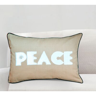 Handcrafted Sentiment in Peace Cotton Lumbar Pillow