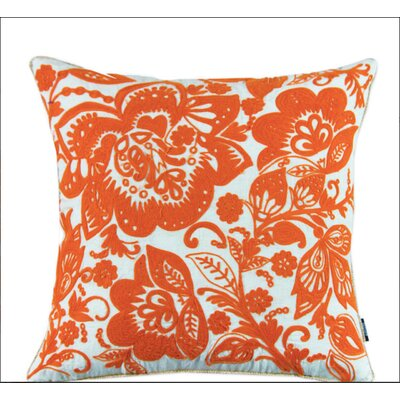 Jacobean Embroidered Cotton Throw Pillow Color: Orange