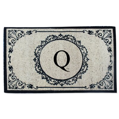 First Impression Engineered Anti Shred Treated Hanna Decorative Border Monogrammed Doormat Letter: Q