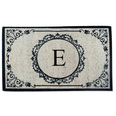 First Impression Engineered Anti Shred Treated Hanna Decorative Border Monogrammed Doormat Letter: E