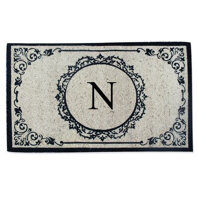 First Impression Engineered Anti Shred Treated Hanna Decorative Border Monogrammed Doormat Letter: N