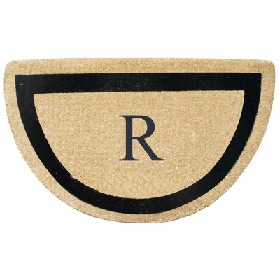 First Impression Engineered Anti Shred Treated Micah Half Round Monogrammed Doormat Letter: R