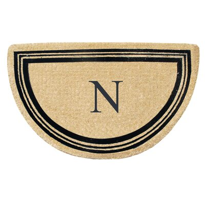 First Impression Engineered Anti Shred Treated Finlay Half Round Monogrammed Doormat Letter: N