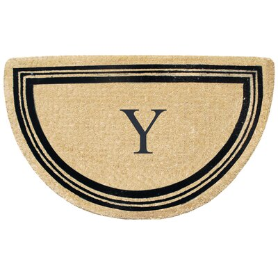 First Impression Engineered Anti Shred Treated Finlay Half Round Monogrammed Doormat Letter: Y