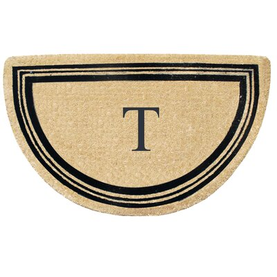 First Impression Engineered Anti Shred Treated Finlay Half Round Monogrammed Doormat Letter: T