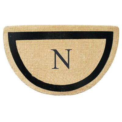 First Impression Engineered Anti Shred Treated Micah Half Round Monogrammed Doormat Letter: N