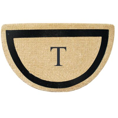 First Impression Engineered Anti Shred Treated Micah Half Round Monogrammed Doormat Letter: T