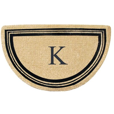 First Impression Engineered Anti Shred Treated Finlay Half Round Monogrammed Doormat Letter: K