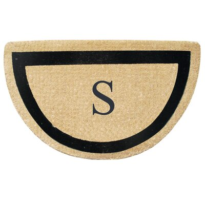 First Impression Engineered Anti Shred Treated Micah Half Round Monogrammed Doormat Letter: S