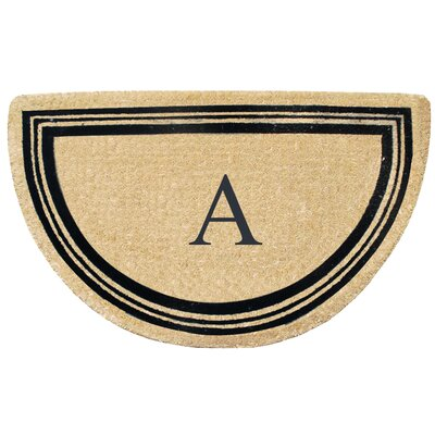 First Impression Engineered Anti Shred Treated Finlay Half Round Monogrammed Doormat