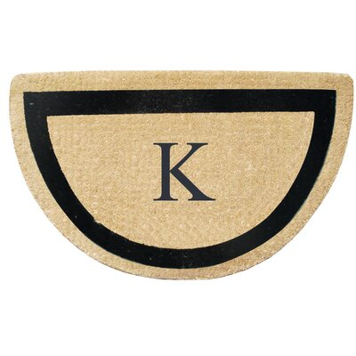 First Impression Engineered Anti Shred Treated Micah Half Round Monogrammed Doormat Letter: K