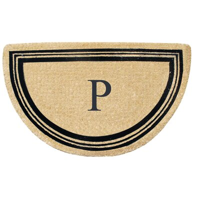 First Impression Engineered Anti Shred Treated Finlay Half Round Monogrammed Doormat Letter: P