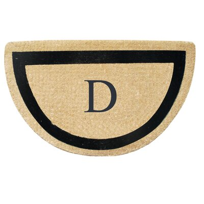 First Impression Engineered Anti Shred Treated Micah Half Round Monogrammed Doormat Letter: D