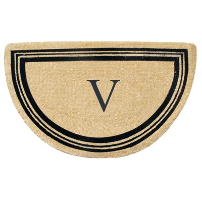 First Impression Engineered Anti Shred Treated Finlay Half Round Monogrammed Doormat Letter: V