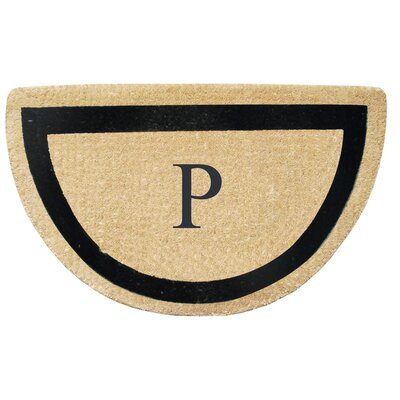 First Impression Engineered Anti Shred Treated Micah Half Round Monogrammed Doormat Letter: P