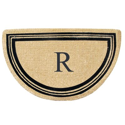 First Impression Engineered Anti Shred Treated Finlay Half Round Monogrammed Doormat Letter: R