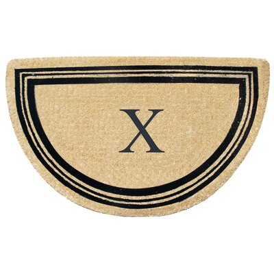 First Impression Engineered Anti Shred Treated Finlay Half Round Monogrammed Doormat Letter: X