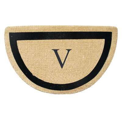 First Impression Engineered Anti Shred Treated Micah Half Round Monogrammed Doormat Letter: V