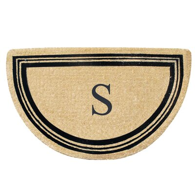 First Impression Engineered Anti Shred Treated Finlay Half Round Monogrammed Doormat Letter: S