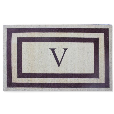 First Impression Engineered Anti Shred Treated Terrance Border Doormat Letter: V