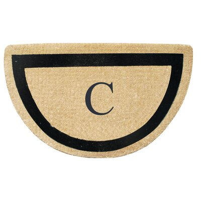 First Impression Engineered Anti Shred Treated Micah Half Round Monogrammed Doormat Letter: C