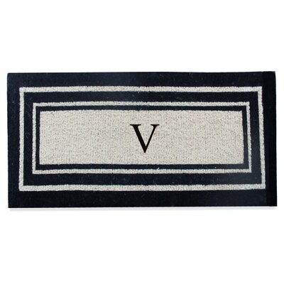 First Impression Westwood Border Monogrammed Doormat Letter: V