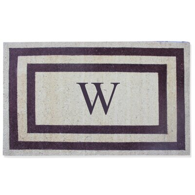 First Impression Engineered Anti Shred Treated Terrance Border Doormat Letter: W