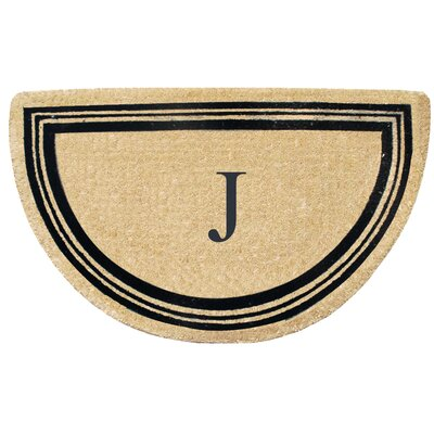 First Impression Engineered Anti Shred Treated Finlay Half Round Monogrammed Doormat Letter: J