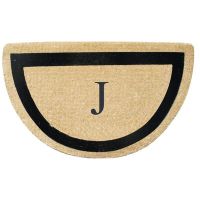 First Impression Engineered Anti Shred Treated Micah Half Round Monogrammed Doormat Letter: J